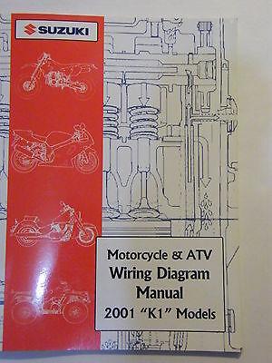 New 2001 Suzuki Motorcycle Atv Wiring Diagram K1 Models Manual Ebay