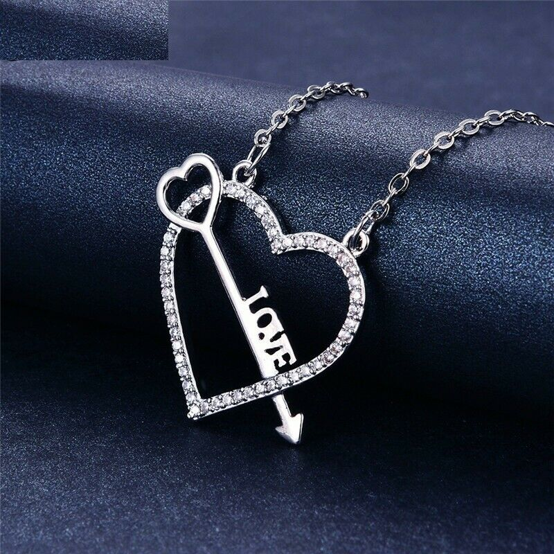 0.8ct Round Cut Diamond Pendant with Chain Heart Arrow 14k White gold Finish