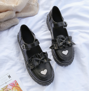 Womens Sweet Round Toe Lolita Mary Jane Bow Knot Flat Cosplay Buckle Strap Shoes