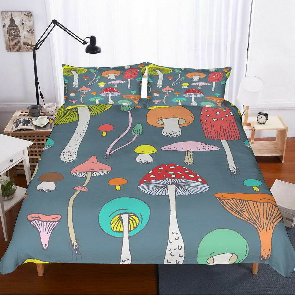 Orange Mushrooms 3D Quilt Duvet Doona Cover Set Single Double Queen King Print