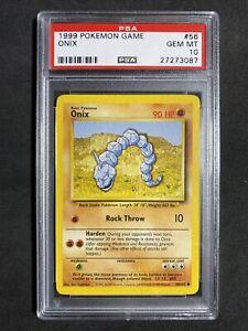 ?Pokemon PSA 10 Base Set Unlimited Non Holo Gem Mint Onix #56
