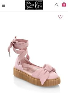 newest collection 496b9 ee054 Details about New Fenty Rihanna by PUMA Bandana Pink Leather Bow Creeper  Flats Size 9.5