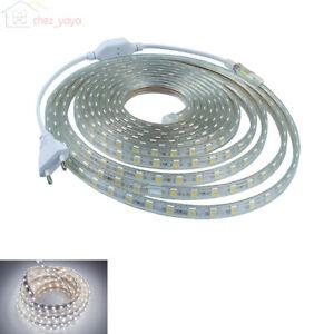 1m-100m-LED-Bande-Strip-Ruban-Guirlande-220V-230V-AC-IP65-Etanche-blanc-froid