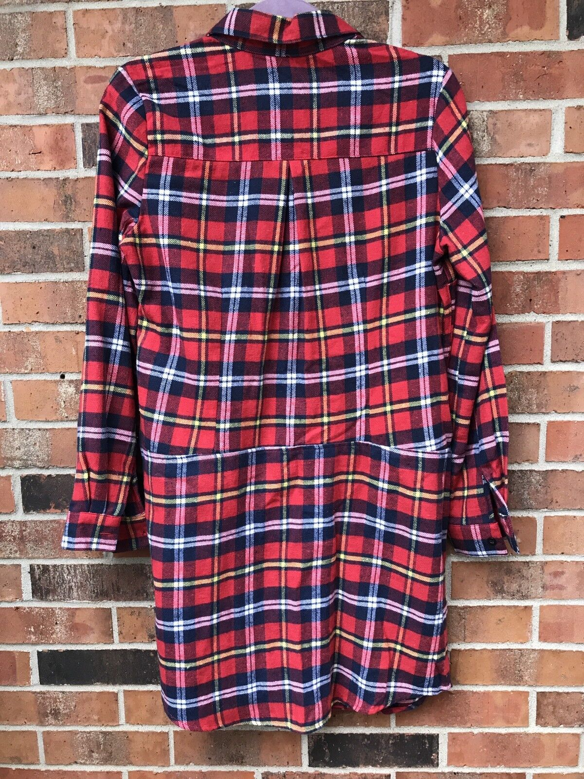 NEW Plaid Button Up Dress Small Red Tunic top top top dress flannel winter fall holiday c1044a