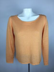 Eileen-Fisher-Womens-Sz-S-Linen-Knit-Tunic-Lagenlook-Boxy-Blouse-Melon-Orange