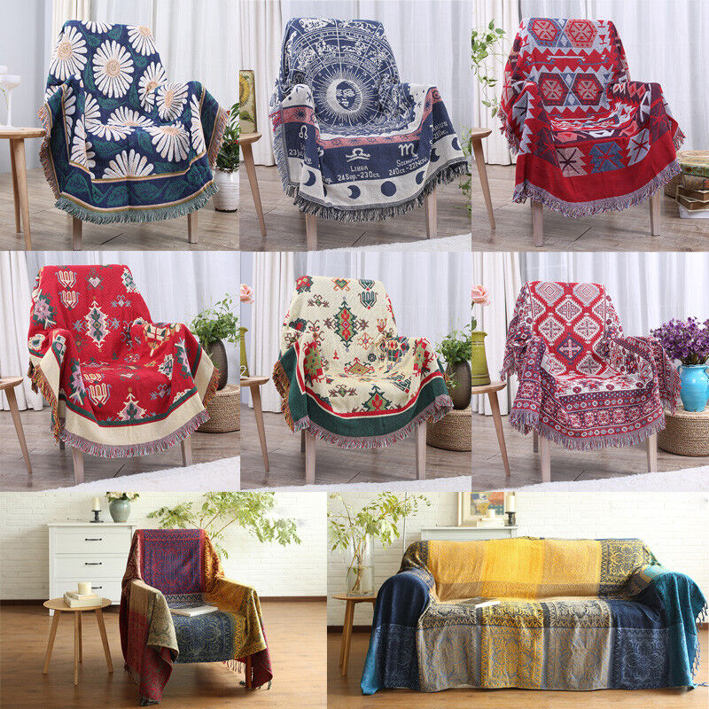 Double Sided Floral Cotton Woven Couch Throw Blanket Bed Sofa Decorative Tassel