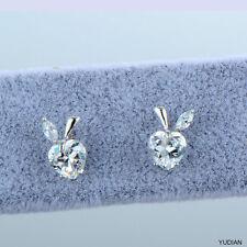 Womens White Gold Filled Clear CZ Heart Small Cute Lovely Korean Stud Earrings