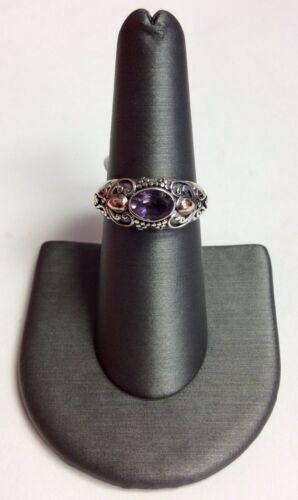 REAL Sterling Silver /& Or 18K femme style vintage Améthyste Design Band Ring
