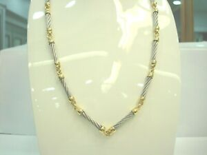 Halskette-IN-Gelbgold-18-Karat-750-000-amp-Kabel-Stahl-Lang-45-CM-R77274