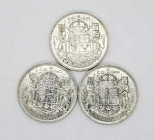 Lot Of 3 1940 Canada Silver 50 Fifty Cents Coin