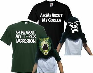 Children-039-s-Ask-Me-About-My-T-Rex-amp-Gorilla-Flip-T-Shirt-Double-Pack-Kids-Gift
