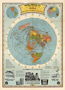 1945 Flat Earth Air Age Map of the World Azimuthal Equidistant Polar ...