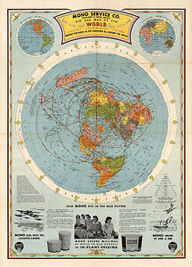 Details about 1945 Flat Earth Air Age World Map Globe Wall Art Poster Print  Home Decor Office
