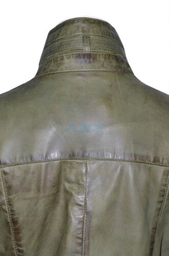 LASVEGAS Vintage Verde Donna Woman Vintage Lavato in Pelle Giacca Trench Cappotto