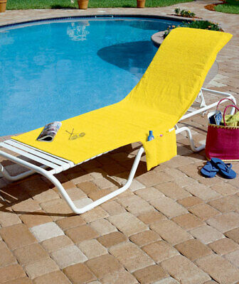 TERRY CLOTH CHAISE LOUNGE BEACH CHAIR COVER TOTE Patio Deck Pool Lake  Balcony