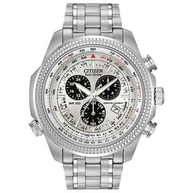 Citizen Eco-Drive Men's Chronograph Alarm Silver-Tone 48mm Watch