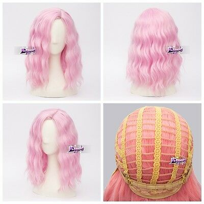35CM Light Pink Curly Lolita Hair Popular Fashion Anime Cosplay Wig + Wig Cap
