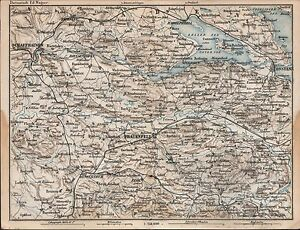 1873 BAEDEKER ANTIQUE MAP SWITZERLAND SCHAFFHAUSEN COBLENZ WYL