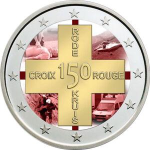 2-Euro-Gedenkmuenze-Belgien-2014-coloriert-mit-Farbe-Farbmuenze-Rotes-Kreuz