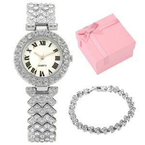 Creative Special Gift Set Women Cuff Bracelet with Rhinestone Lady Quartz Watch