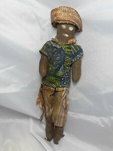 Vintage-Folk-Art-Hand-Made-Doll-Circa-1900-039-s-10-034-Tall