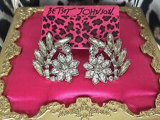 Betsey Johnson Clear Rhinestone Crystal Flower Leaf HUGE Stud Earrings $55 NWT
