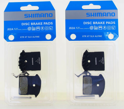 2 Packs Shimano J02A Disc Brake Resin Pad wFin for M9000 M8000 M7000 as F01A