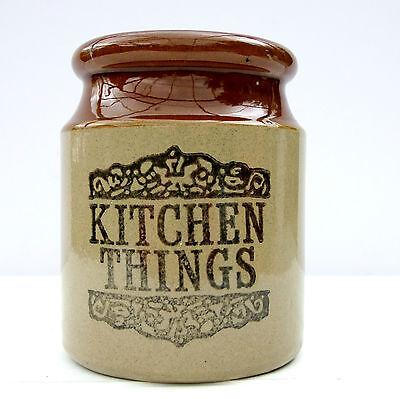 Vintage Retro 1970s Moira Stoneware Kitchen Things Utensils Jar Pot