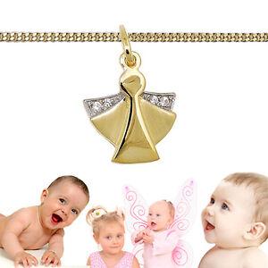 Der GüNstigste Preis Kinder Baby Zirkonia Schutz Engel Echt Gold 333 Und Kette Silber 925 Vergoldet Elegant Im Stil