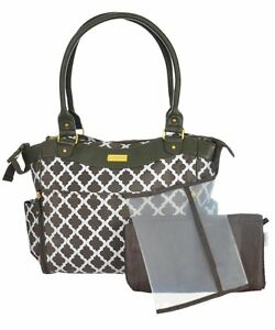 carters convertible tote diaper bag green white diamond ebay. Black Bedroom Furniture Sets. Home Design Ideas