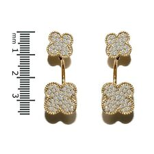 NEW PAVE YELLOW GOLD PLATED DOUBLE CLOVER CLEAR CZ HOOP DANGLE EARRING -BRIDAL