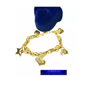 Saudi-Gold-18K-Bracelet-for-Women-with-Mix-Charms-Yellow-Gold