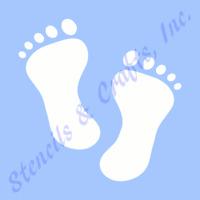 4 Footprints Stencil Stencils Foot Feet Prints Craft Template Pattern