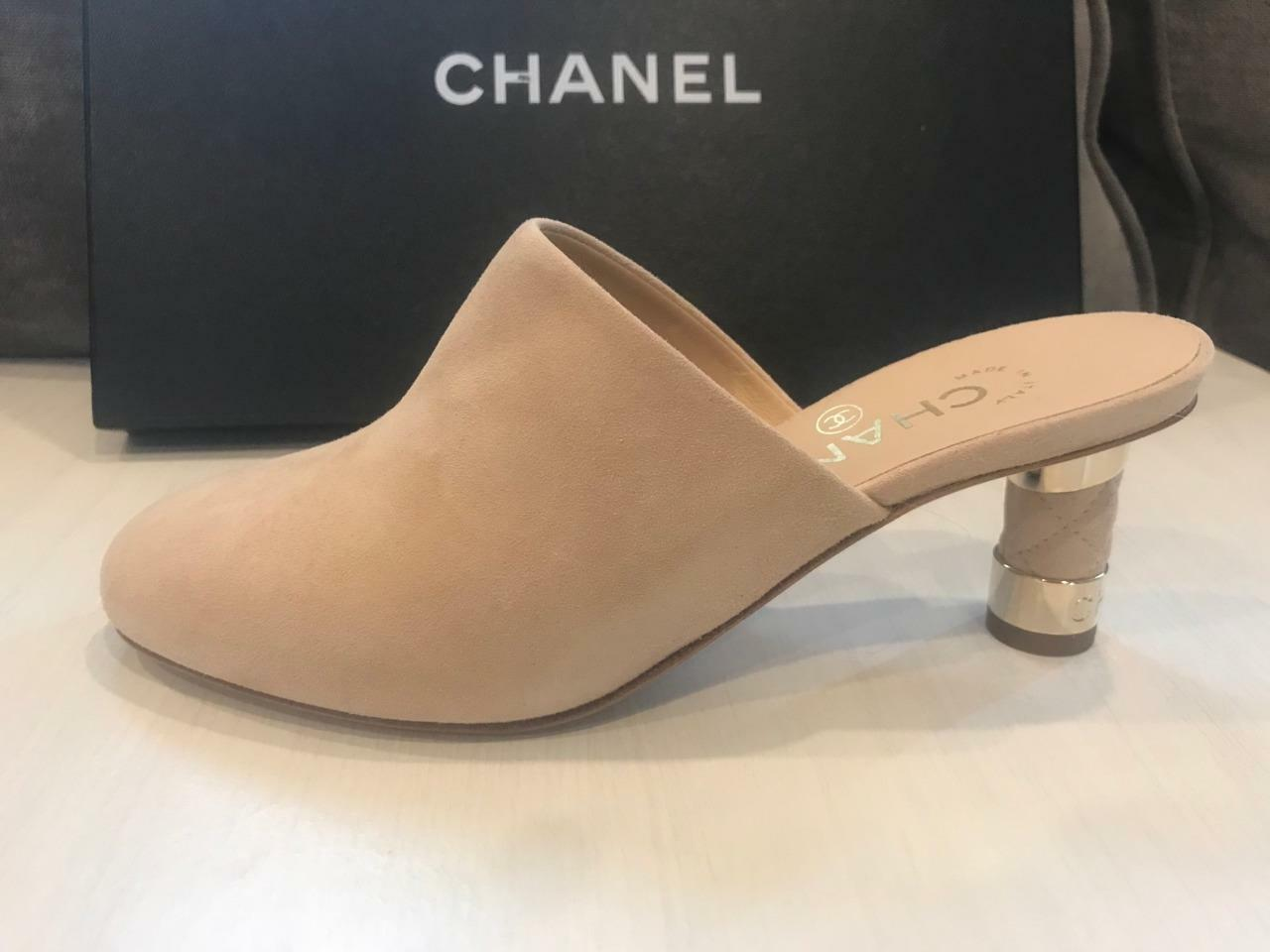 CHANAEL 18P Suede Quilted Heel Mules Sandals Slides scarpe  Beige  1125  centro commerciale di moda