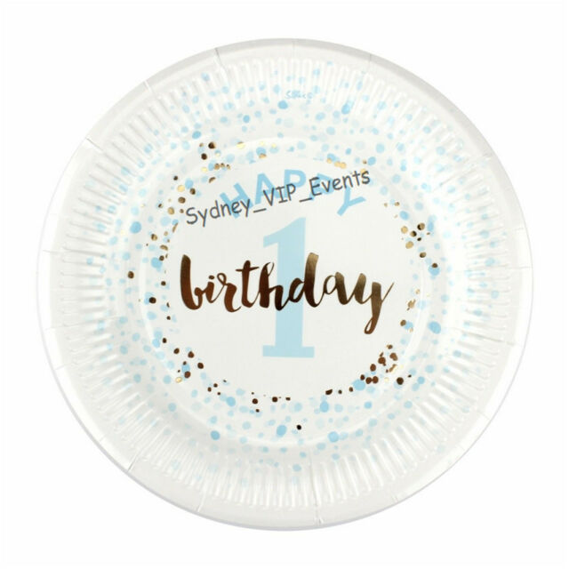 SMALL FIRST 1ST BIRTHDAY PAPER PLATES BLUE GOLD CONFETTI 12PK PARTY BOY DESSERT  sc 1 st  eBay & Small First 1st Birthday Paper Plates Blue Gold Confetti 12pk Party ...