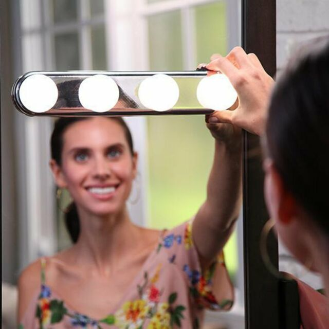 Studio Glow Make Up Light Super Bright 4 LED Bulbs Portable Makeup Mirror
