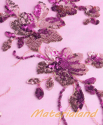 145cm Hot Pink + Pink Flower Sequined & Embroidered Mesh Lace Wedding Fabric 2A