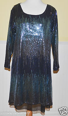 Staples Clothing Sequin Blue Black Tunic NWT