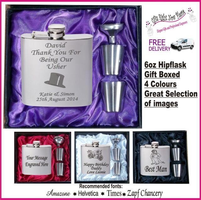 Engraved Hip Flask Best Man - Usher - Groom Gift Boxed