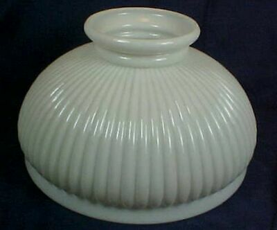 Antique-Kerosene-Lamp-White-Milk-Glass-Shade-Ribbed-Design-10-034-Diameter