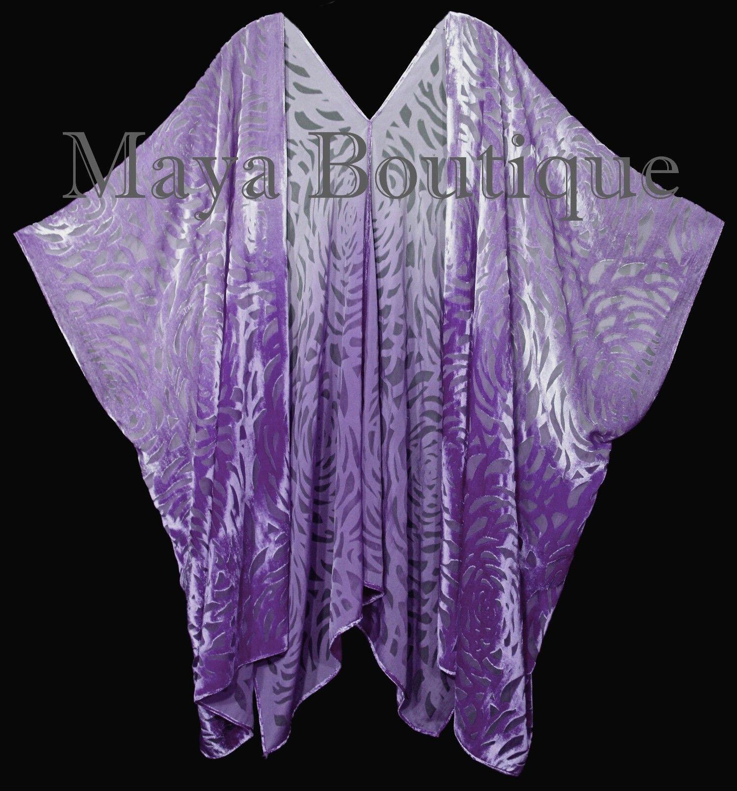 Maya Matazaro púrpura Ombre Camelia Burnout Terciopelo  Caftan Kimono Chaqueta Mano Teñido  cómodamente