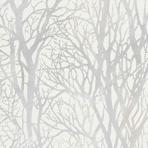 AS CREATION 300941 FOREST METALLIC TREE BRANCHES WALLPAPER WHITE /& SILVER