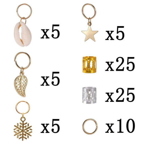 80 Stücke Dekorationen Anhänger Dreadlocks Perlen Metall Manschetten Haar RinZJP