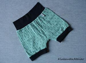 Pump-Pantaloni-Estate-breve-Mussolina-ancoraggio-verde-handmade-taglia-56-62-68-74-80-86-92-98-104