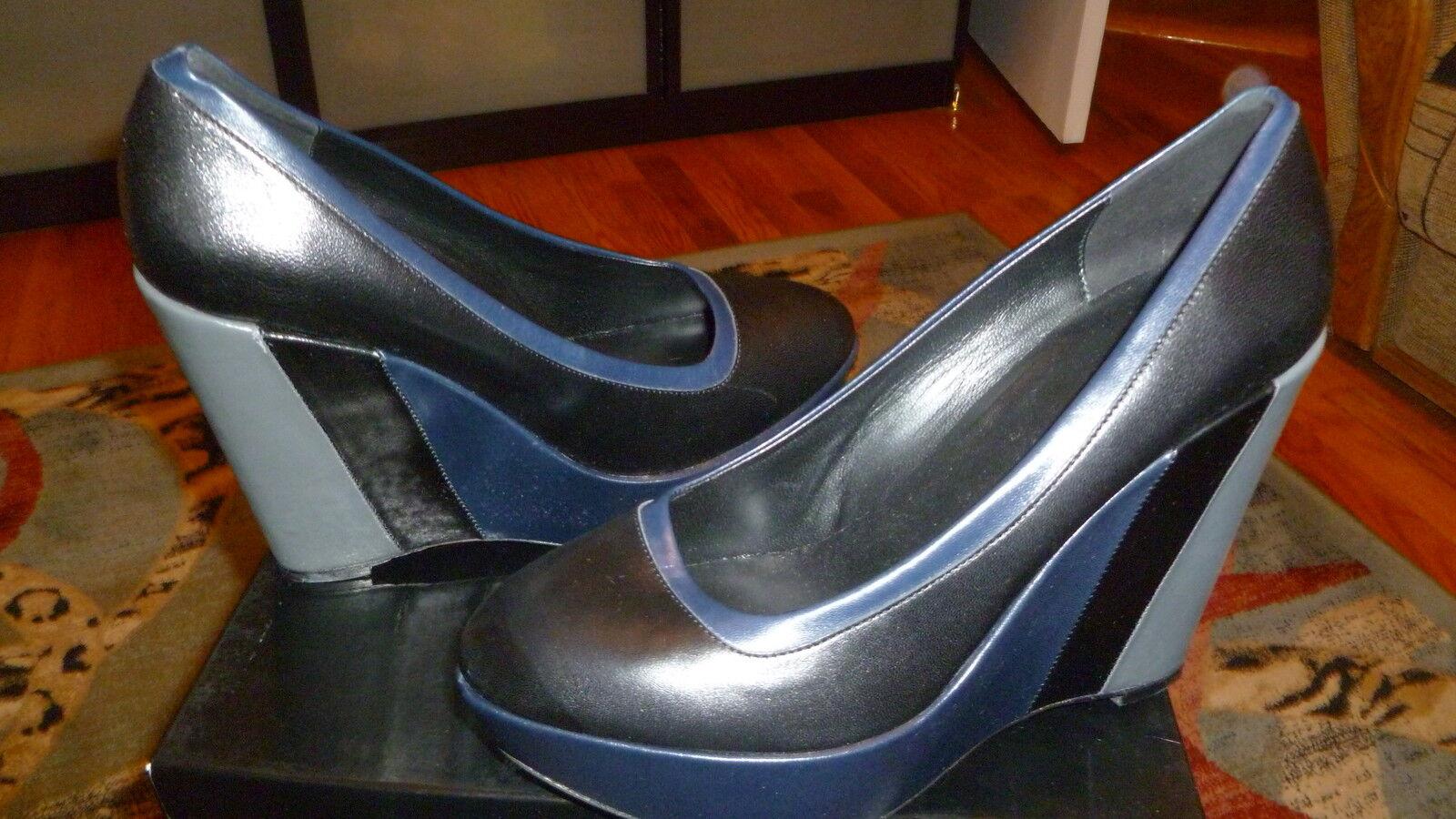 NIB Escada Sport High Heel Platform Wedges Black Leather Shoes size 40 US 10.