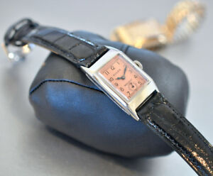 1930-Vintage-Mens-Rolex-PRINCE-Elegant-Watch-Deco-Pink-Face-Platinum-clad-2dials
