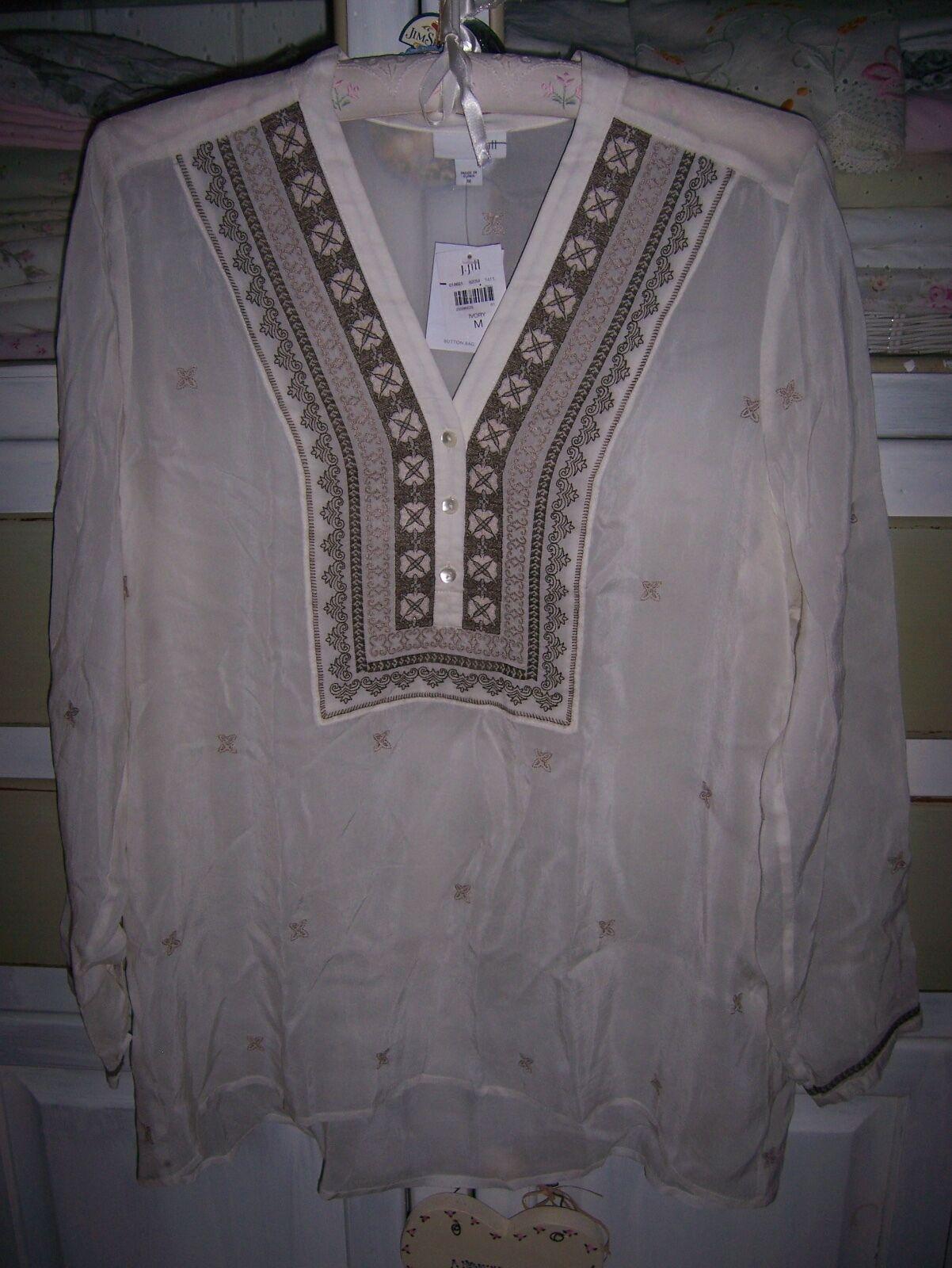 NWT J.Jill Ivory Royal Medallion Romantic Gossamer Tunic Top Blouse XL