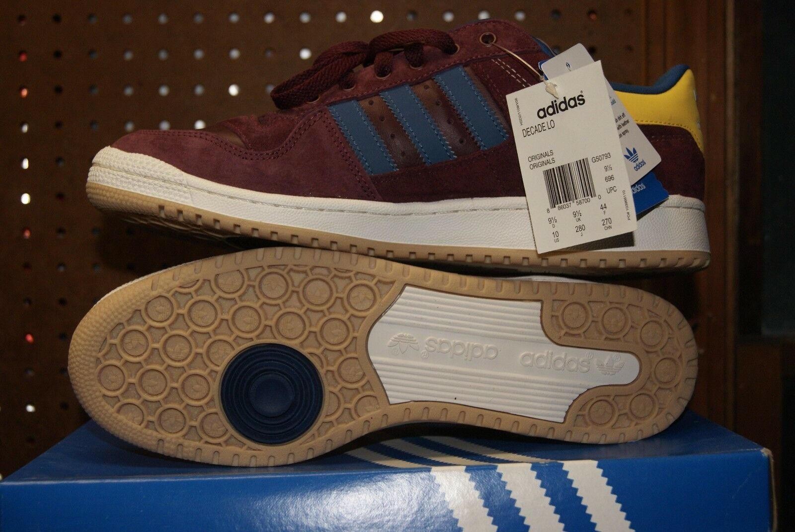 Adidas Decade Low Low Low Shoe Sz 8 12 Red Yellow Blue Burgundy Suede Sunshine 592d74