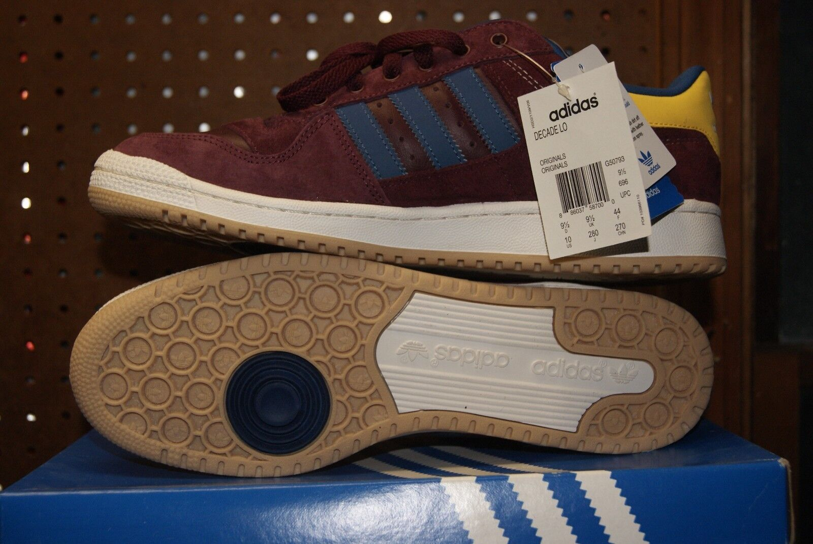 Adidas Decade Blue Low Shoe Sz 8 12 Red Yellow Blue Decade Burgundy Suede Sunshine 5e44c1