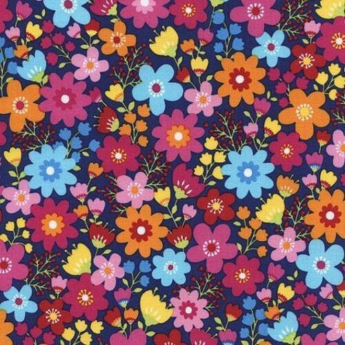 Tribeca brillante y Flor Floral Flores en Azul Marino 100/% Algodón Patchwork Tela